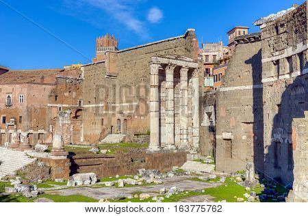 Remains of Forum of Augustus with the Temple of Mars Ultor, Rome, Italy