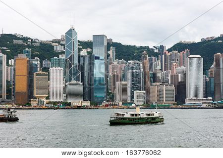 Hong Kong Island skyline from across Victoria harbour
