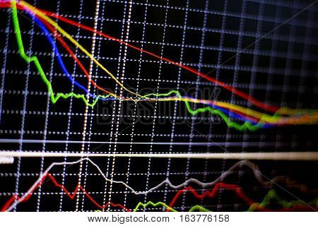 graph chart of stock market investment trading.