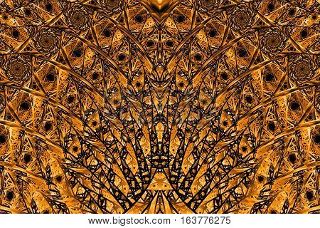 Abstract Intricate Mosaic Ornament. Fantasy Fractal Texture In Orange And Black Colors. Digital Art.