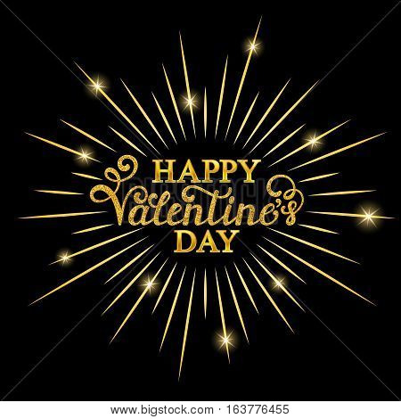 Happy Valentine's day inscription with gold rays on black background. Calligraphy font style. Vector illustration.
