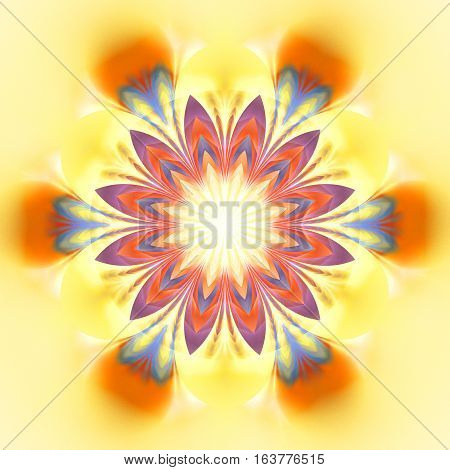 Abstract Exotic Flower. Psychedelic Mandala Design In Bright Yellow, Orange, Red And Blue Colors. Fa