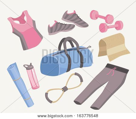 Yoga Stuff Vector Illustration Icon Set. Sport, Fitness, Stretching, Workout, Gym Accessories. Woman