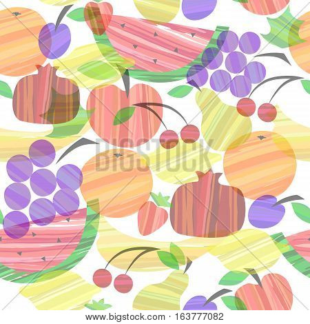 Colorful different fruits seamless pattern vector illustration. Background, textile, texture, backdrop