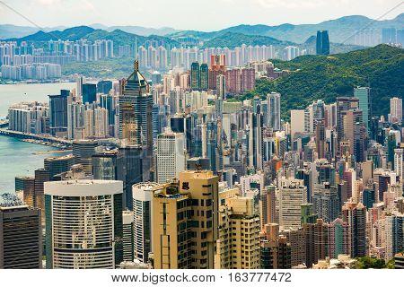 High density of buildings on Hong Kong Island looking from Victoria Peak.