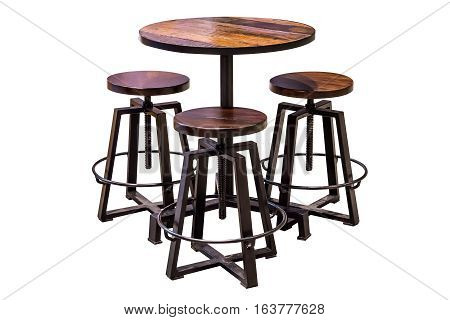 Set of wooden table and chair with steel legs simplistic on white background work with path.