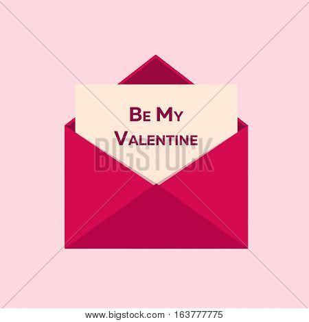 Valentines Day. Be My Valentine. Pink Envelope On Pink Background. Vector Flat Illustration.