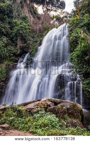 Pha Dok Seaw waterfall or Rak Jang waterfall in Doi Inthanon National ParkThailandMost Famous in Thailand Beautiful silky waterfall flow through stones.