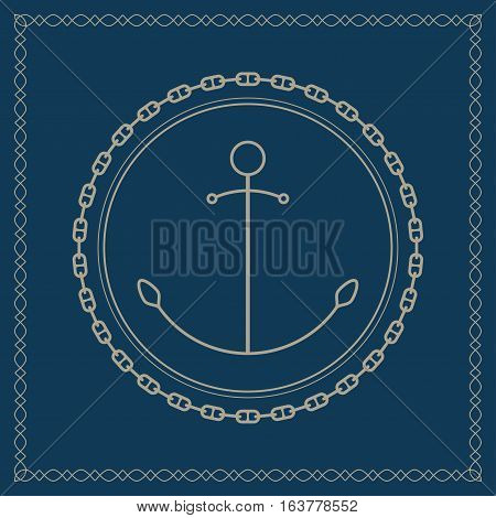 Anchor, marine emblem with anchor ,retro ornament anchor and chain