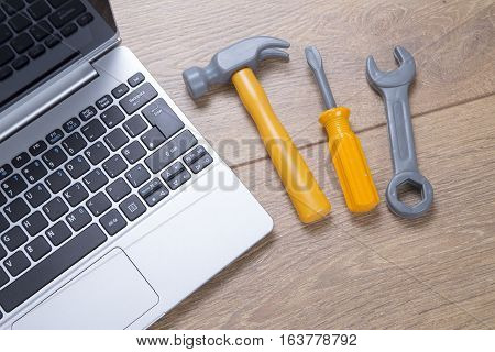 Concept Of Repair And Maintenance On A Laptop