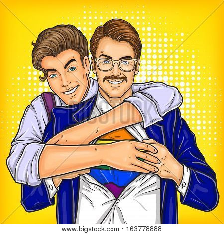 Vector pop art illustration of a homosexual couple oppressed prejudices