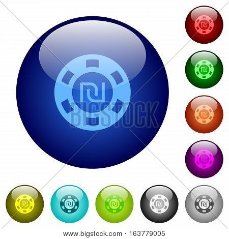 New Shekel casino chip icons on round color glass buttons