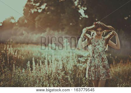 Portrait Of Fashion Beautiful Woman On Nature.  Pure Beauty Mode