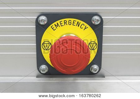 Emergency stop button for industrial machine. Panic button