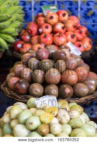 Fresh exotic fruits on famous market in Funchal (Mercado dos Lavradores) Madeira island Portugal