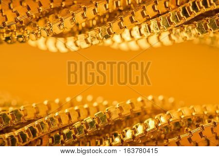 Gold Chain Waves Background Twisted Golden Frame Abstract Curly Border