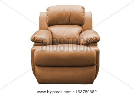 Brown leather armchair isolated on white background with clipping path.