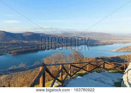Picture of the beautiful view from the castle of Visegrad Hungary