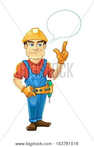 builder or handyman in helmet pointing top to the speach bubble. Color Vector illustration isolate on white background