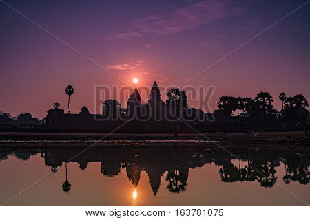Sunrise over Angkor Wat in Siem Reap Cambodia.