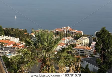 Lido hotels zone in Funchal Madeira island Portugal