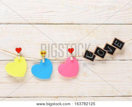 Valentine Heart Hanging On Clothesline