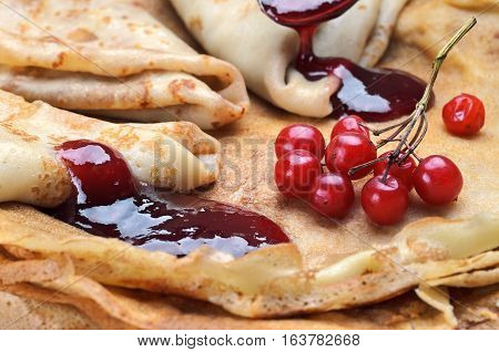 Tasty Pancakes With Jamand Fresh Berries