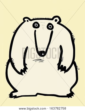 Funny polar bear hand draxn vector illustration