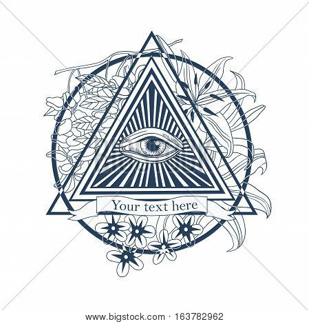 All seeing eye illustration. Tatoo, masonic symbol vector