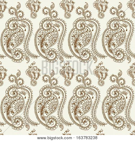 Hand drawn seamless pattern of henna flower lotus, floral paisley elements.Mehendi Tattoo Doodles collection, monochrome, meditation aura.Vector illustration.