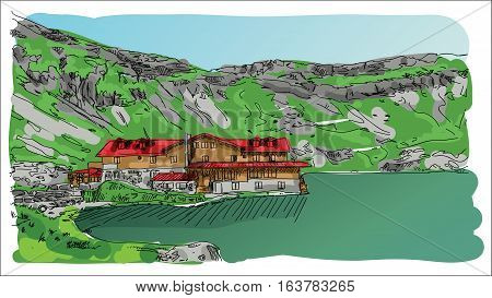 Digital vector sketch landscape lake and a red hourse at transfagarasan mountains