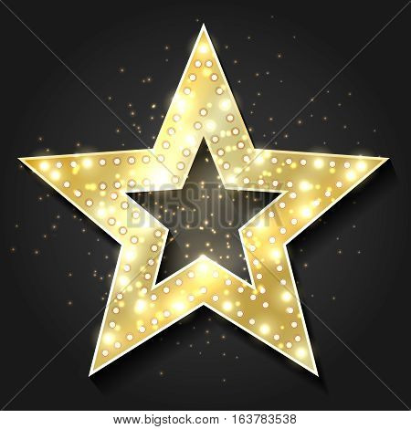Stars shape retro 3d frame with lights. Vector hollywood movie star design element for billboard advertising. Emblem star for premiere film, decoration frame banner illustration