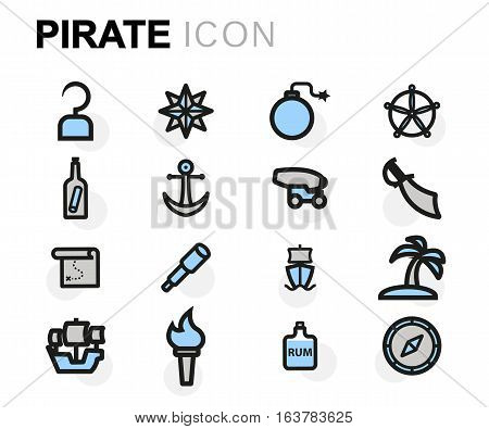 Vector flat pirate icons set on white background