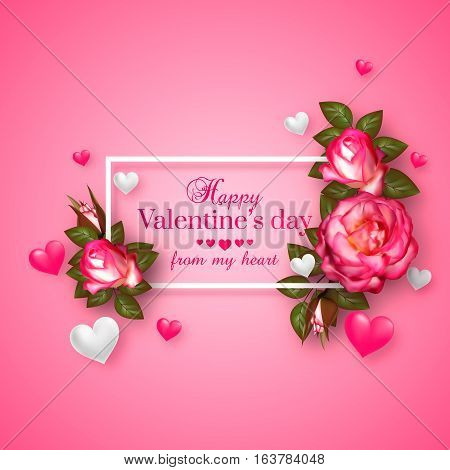 Realistic 3d floral Valentines day card with floating hearts and roses. Happy Valentines day greeting background. Vector illustration.