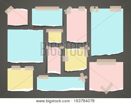 Important yellow and red notes. Vector organized office notepad papers. Clean blank piece of colored paper illustration