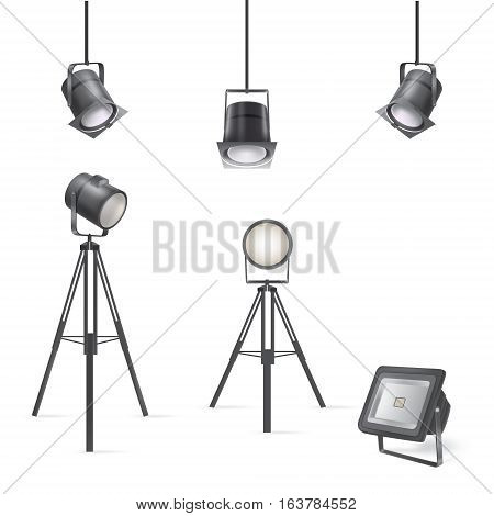 Set of vector scenic spotlights isolated on white background