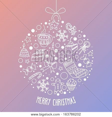 Vector Christmas Greeting Card With Dreamy Gradient Background And White Lineart Doodle Ball. Holida