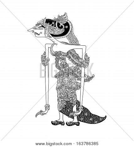 Batari Lenglengmulat, a character of traditional puppet show, wayang kulit from java indonesia.