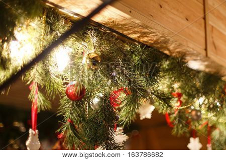 Christmas ornaments on a tree decoration traditional