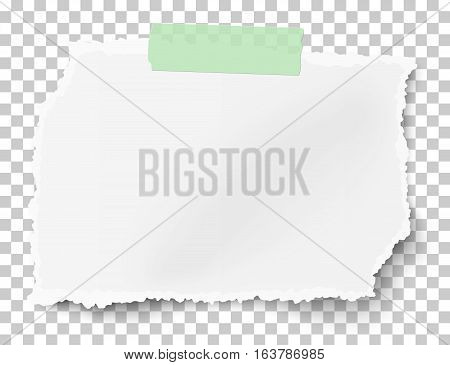 Vector rectangular square ragged paper scrap with soft shadow on sticky adhesive tape placed on transparent checkered background