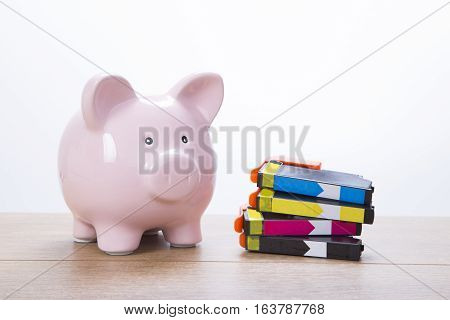 Cute Pink Piggy Bank With Ink Cartridges