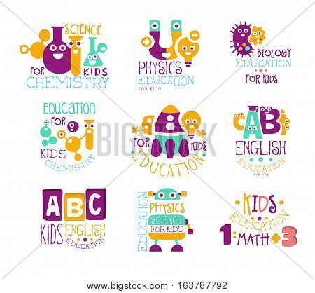 Kids Science Education Extra Curriculum Club Label Templates In Colorful Cartoon Style With Smiling Characters. Set Of Vector Prints With Study And School Classes Symbols For Children.