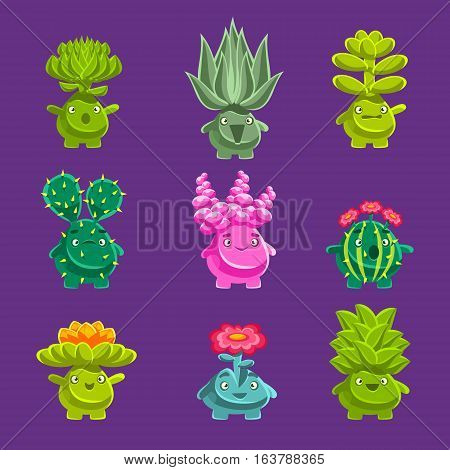 Alien Fantastic Plant Characters With Succulent Vegetation And Humanized Root With Friendly Faces Emoji Stickers Collection. Emoticons With Fantastic Creatures From Another Planet Cartoon Vector Illustrations.