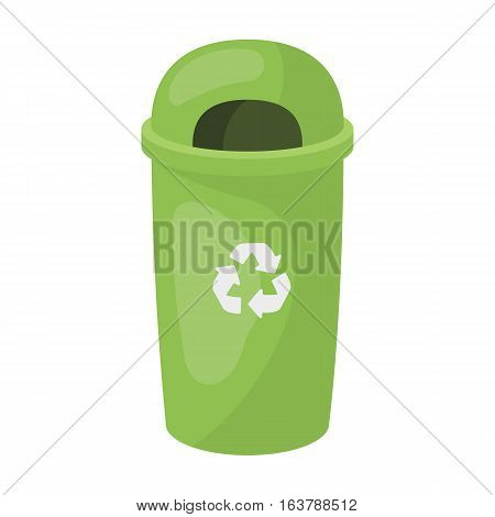 Recycle garbage can icon in cartoon design isolated on white background. Bio and ecology symbol stock vector illustration.
