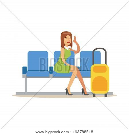 Woman Waiting For Her Flight In Lobby Part Of Airport And Air Travel Related Scenes Series Of Vector Illustrations. Smiling Cartoon Character In The Airport Building Travelling By Plane.