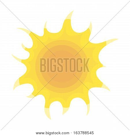 Sun icon in cartoon design isolated on white background. Bio and ecology symbol stock vector illustration.