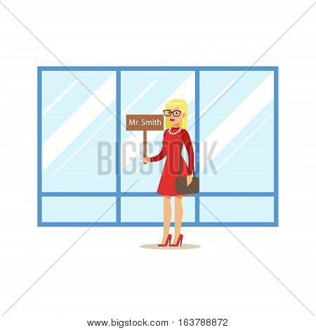 Tourist Guide With Name Sign Waiting For Guest Arrival, Part Of Airport And Air Travel Related Scenes Series Of Vector Illustrations. Smiling Cartoon Character In The Airport Building Travelling By Plane.