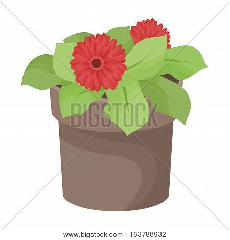 Flower in the pot icon in cartoon design isolated on white background. Bio and ecology symbol stock vector illustration.