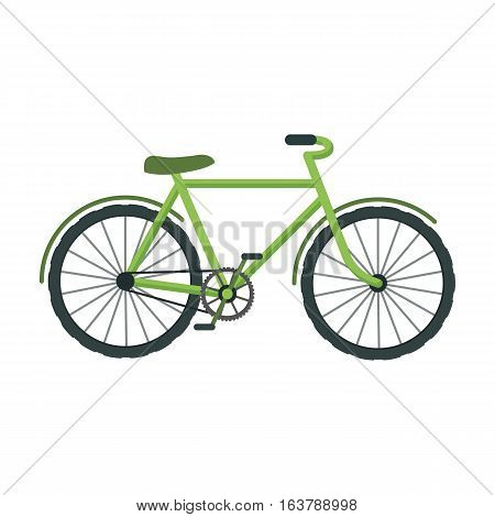 Green bicycle icon in cartoon design isolated on white background. Bio and ecology symbol stock vector illustration.