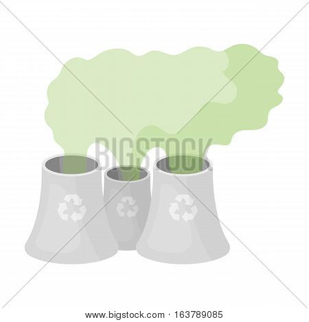 Recycling plant icon in cartoon design isolated on white background. Bio and ecology symbol stock vector illustration.